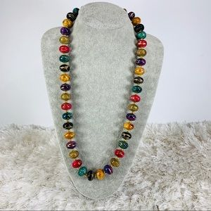Jewelry - Harvest Colors Bead Necklace Gold Accents 29""